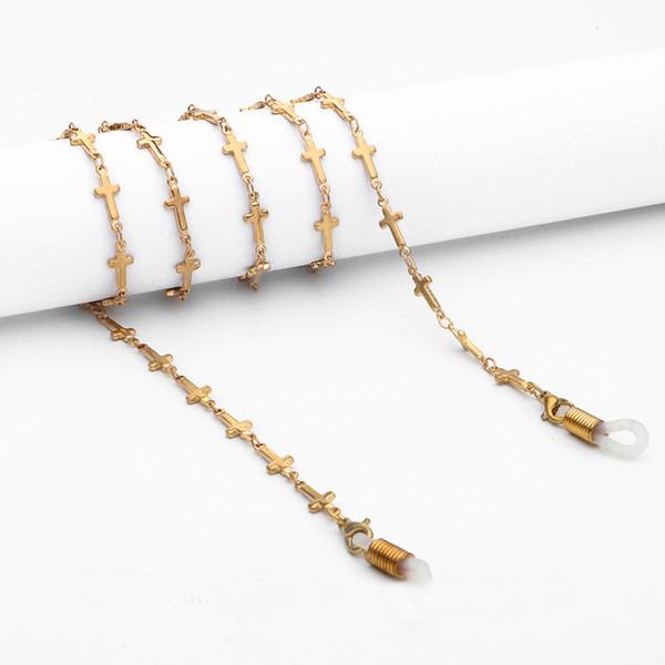 unisex oro rame cinturini per occhiali da uomo freddo intelligente stringa croce occhiali da sole cordini donne britanniche elegante catena collo fidanzata regalo di compleanno