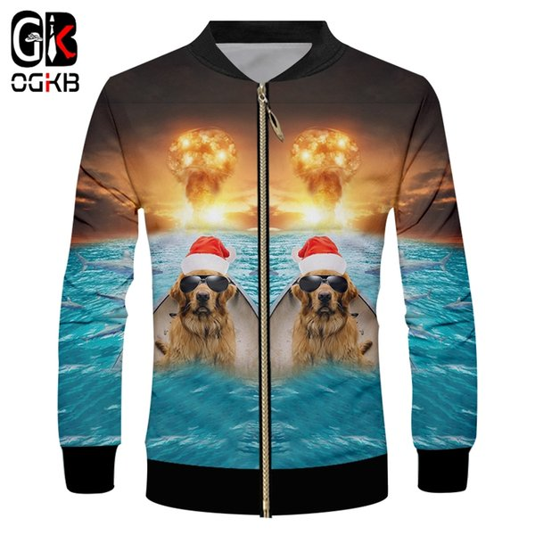 OGKB Christmas Man 3D Printed Fish And Sunglasses Dog Personality Explosion Background Spandex Zip Jacket