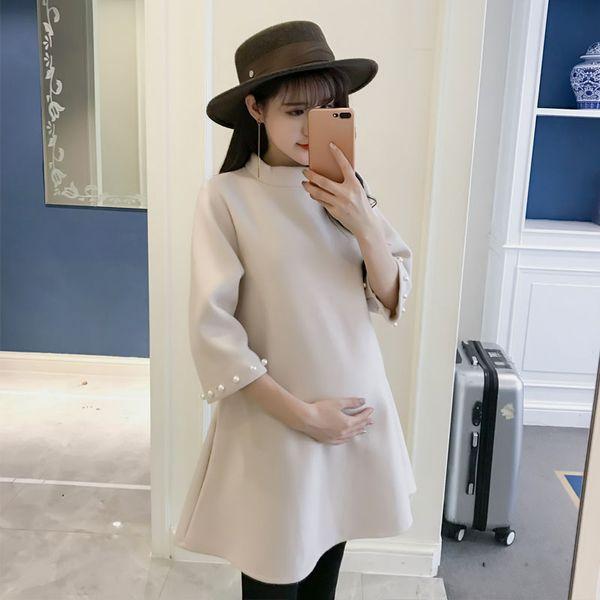 Fashion Beeding Sleeve Elegant Maternity Coats & jackets Autumn Korean Pregnant Clothes for Pregnant Women Elegant Pregnancy Top