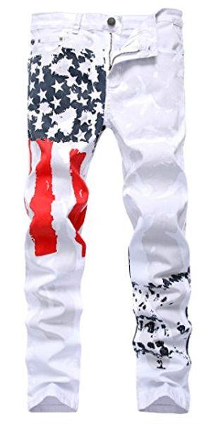 A bandeira dos homens de Panegy imprimiu calças de brim Skinny Slim Fit Casual Denim Stretch Pants