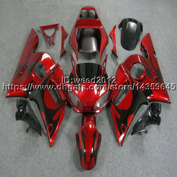 23colors + 5Gifts preto chamas da motocicleta capa carenagem ABS kit corpo para Yamaha YZF R6 1998 1999 2000 2001 2002 YZF-R6