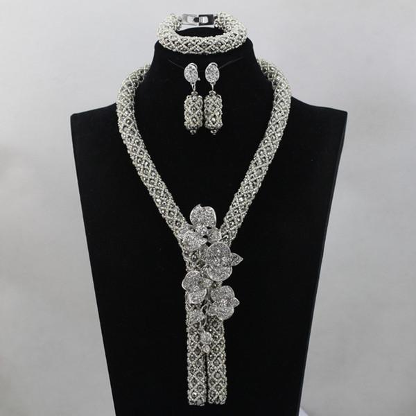 Todo saleFashion Prata Africano Beads Handmade Jewlry Set Acessórios de Casamento Nigeriano Indiano Nupcial Colar Set Frete Grátis ALJ900