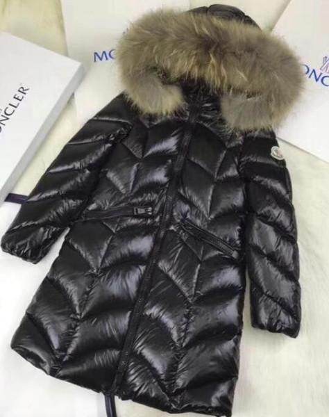 hot New Winter new girls braids hair big collar white goose down thick down jacket red black long coat 1 pcs ZHU
