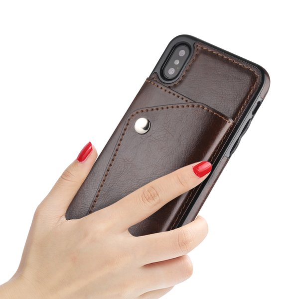 For Iphone X 7 8 plus fashion mobile cell phone case cover luxury leather wallet case with stand photo frame credit cards slots