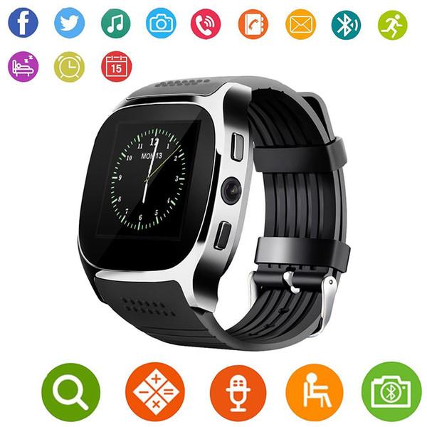 Para Android Nuevo T8 Bluetooth Smart Podómetro Relojes Soporte Tarjeta SIM TF Con Cámara Sync Call Message Hombres Mujeres Reloj Smartwatch 50pcs
