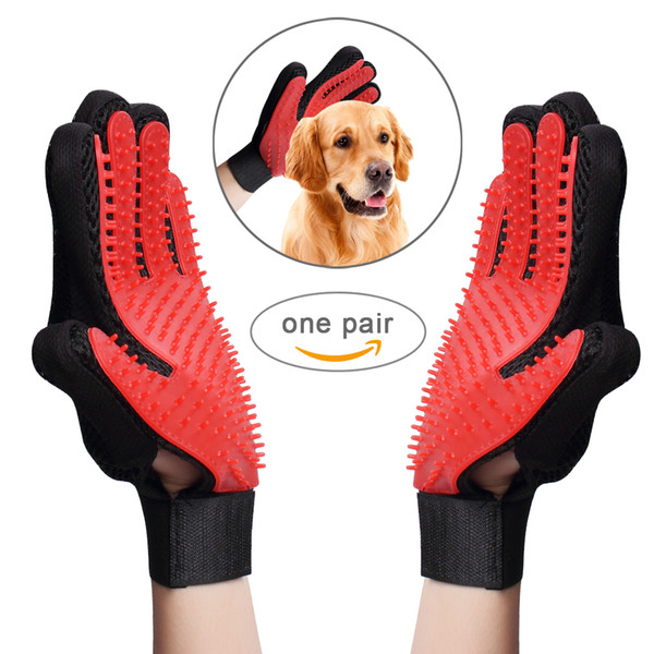 Pet Grooming Glove Gentle Hair Remover Mitt Breathable Deshedding Massage Tool Bathing Brush Enhanced Five Finger Design Perfect for dog&cat