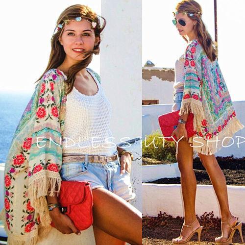 Women Ladies Summer New Boho Hippie Tassels Shawl Top Floral Kimono Loose Blouse Cape Cardigan