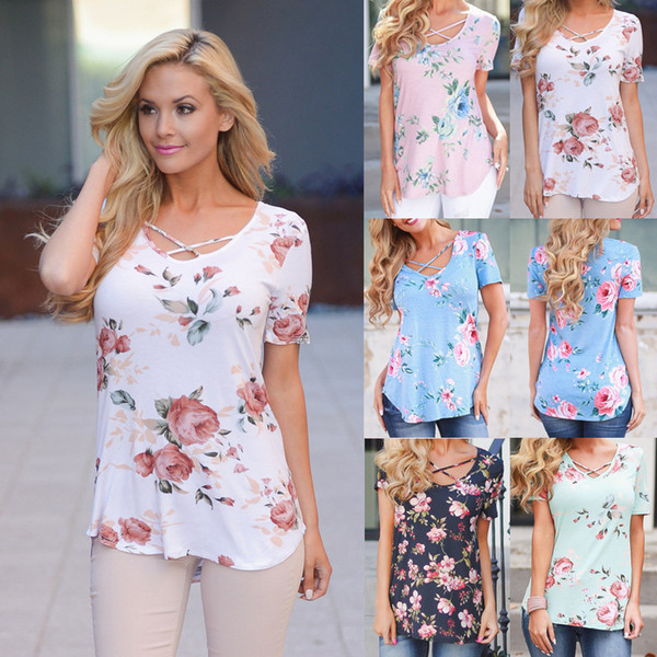 women summer floral tshirts casual v-neck comfortable cross bandages tees short sleeved