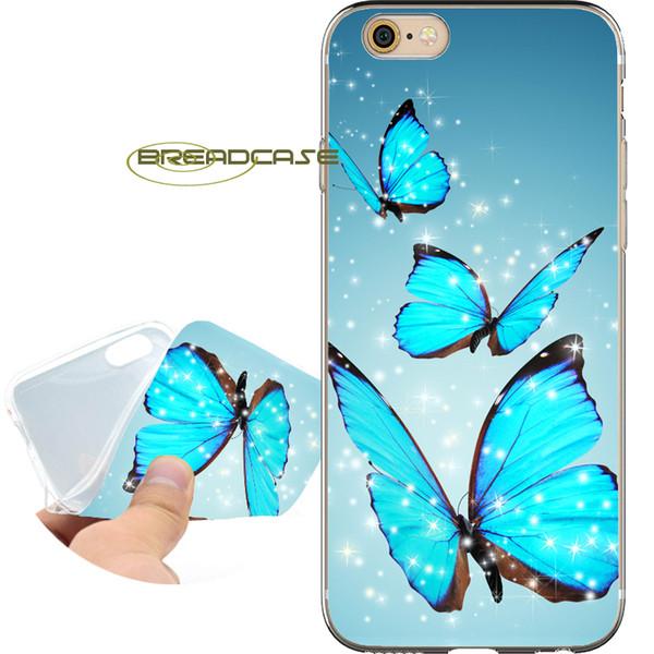 Fundas Blue Butterfly Glitter Fundas para iPhone 10 X 7 8 6S 6 Plus 5S 5 SE 5C 4S 4 iPod Touch 6 5 Claro TPU Funda de silicona.