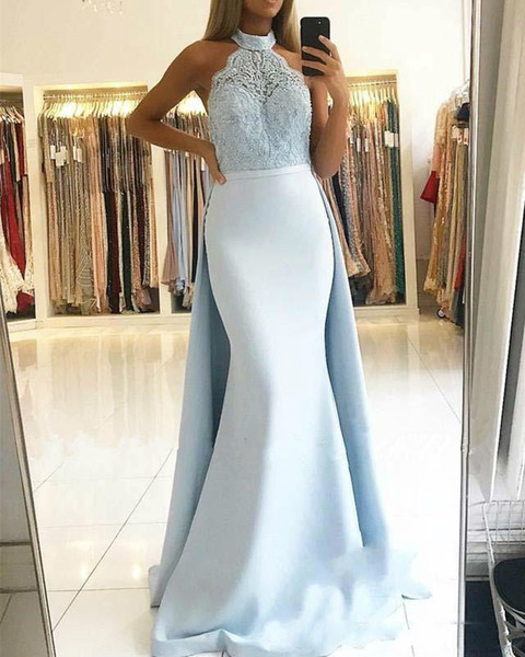 2019 Gorgeous High Neck Mermaid Evening Dresses With Overskirt Lace Appliqued Satin Floor Length Prom Dresse Custom Made