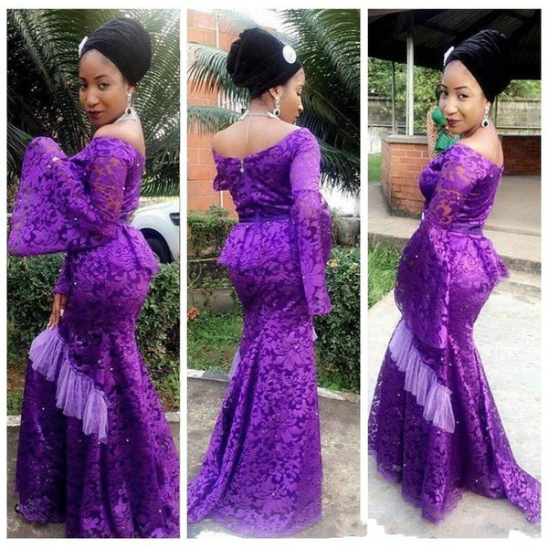 African Lace Mermaid Prom Dresses With Juliet Long Sleeves Scoop Neckline For Black Girls Women Evening Pageant Dress Gowns Party Print Prom Dresses
