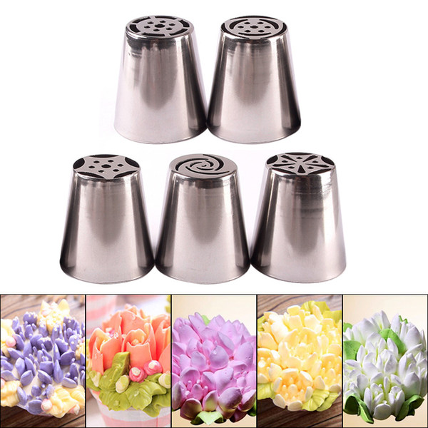 Pastry Tips Set 5Pcs/Lot Russian Tulip Icing Piping Nozzles Kitchen Cake Decoration Decor Tips Tool