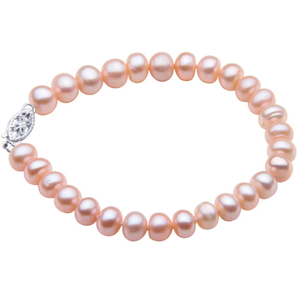 YYW Natural Freshwater Cultured Pearl Bracelet Wedding Jewelry Pink Button Pearl Beads 6/7mm Bridal Birthday Bracelets
