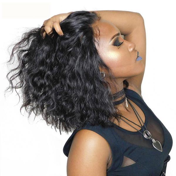 NOUVEAU 150% densité Kinky Curly perruques courtes perruques avant de dentelle pour les femmes noires Lace Front Simulation perruques de cheveux humains livraison gratuite 16