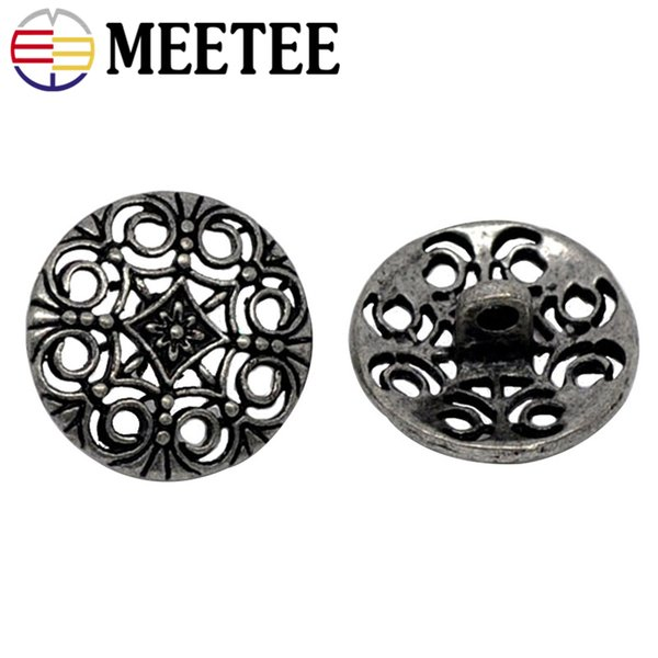 50pcs Meetee 18mm Antique Metal Shank Buttons Hollow Engrave Flower Round Button DIY Sewing Clothing Buttons Craft Scrapbooking AP162