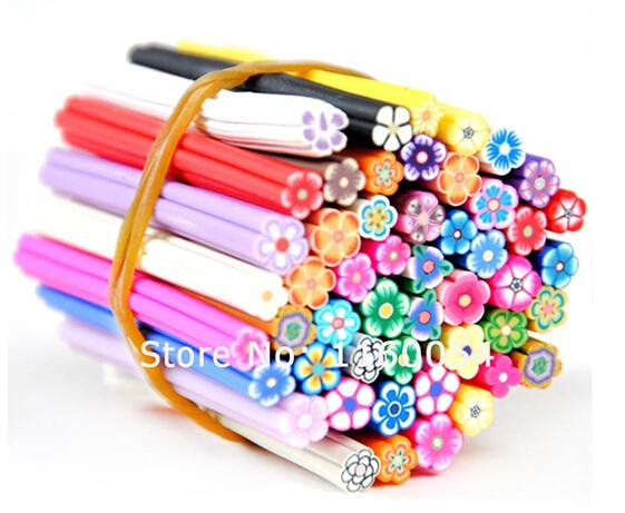 NEW ARRIVAL 50pcs Fimo Nail Stickers Fimo Canes Fruit 3D Nail Art Decoration Polymer Clay Animal Flower Fimo Rods For Nail DIY Design