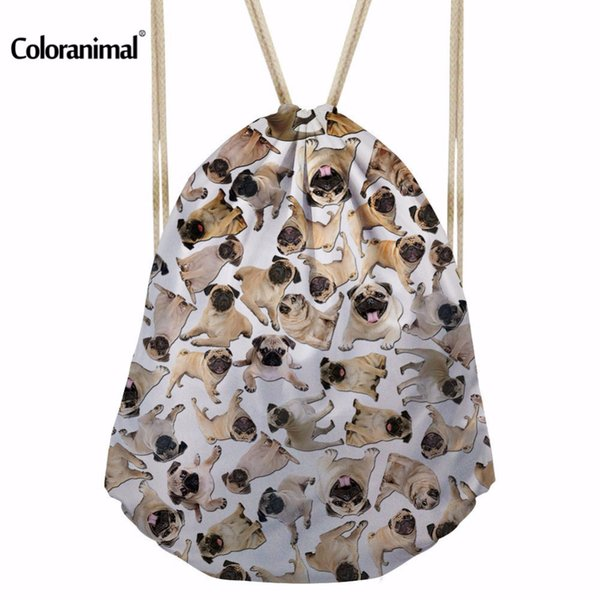 Coloranimal Casual Simple Boys Girls Drawstring Bags Cute 3D Pug Dog Printing Book Shoulder Bag for Teen Multifuction Schoolbags