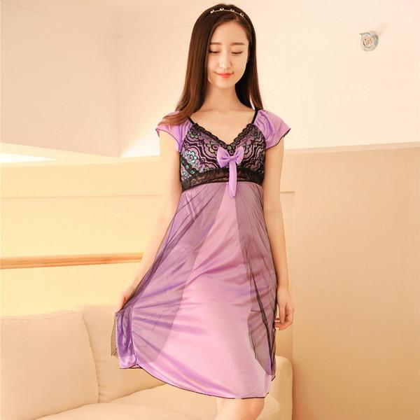 buy popular 2d65d fa4f6 Großhandel Frauen Nachthemd Princesa Pijama Elegante Süße Nachtwäsche  Schlafanzug Schlaf Sommerkleid Seide Sexy Dessous Junges Mädchen Von ...