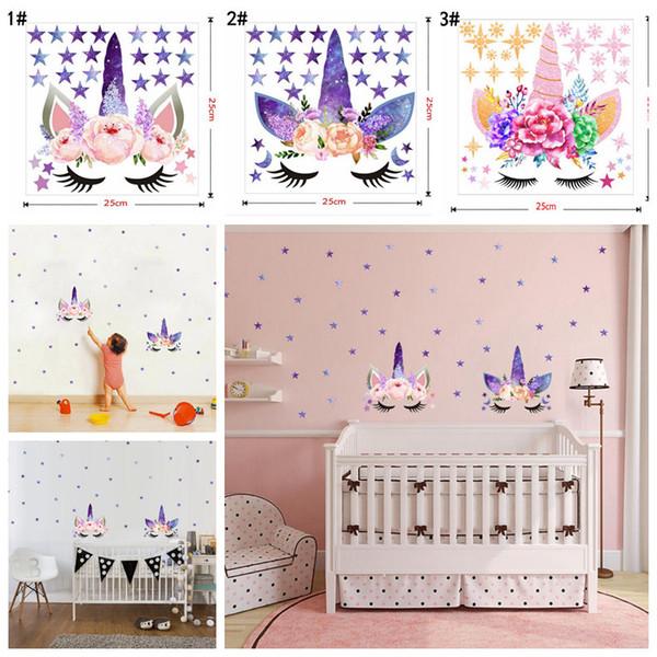 3 estilos DIY estrella de la historieta del unicornio etiqueta de la pared estrellas flor Kids Bedroom calcomanías cartel papel pintado pegatinas de arte sala de estar decoración FFA999 60pcs