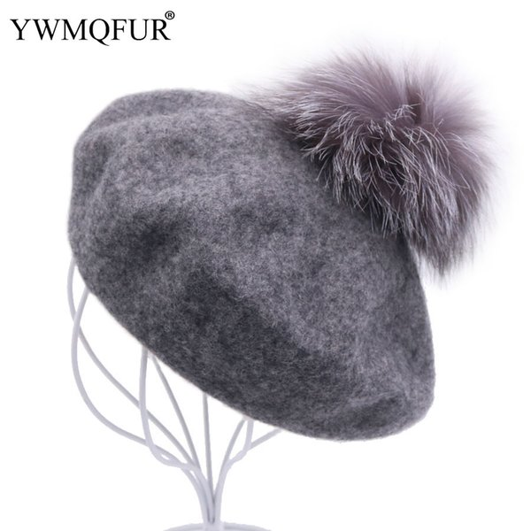 Autumn Winter Warm Wool Beret Hats For Women Casual Solid Beanie Girl Gift Hat Female Caps With Fox Fur Ball 2018 New Arrival