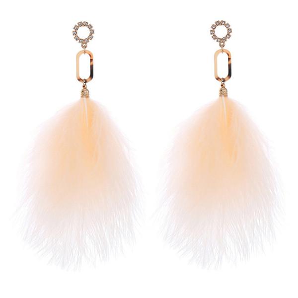 Long feather tassel earrings Cute elegant sexy temperament jewelry wedding jewelry for women (black, white, army green