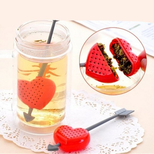 2pcs Heart Love shape design tea strainer Teaspoon Filter spoon Infuser Tea Bags Filtration Lovers kitchen accessories
