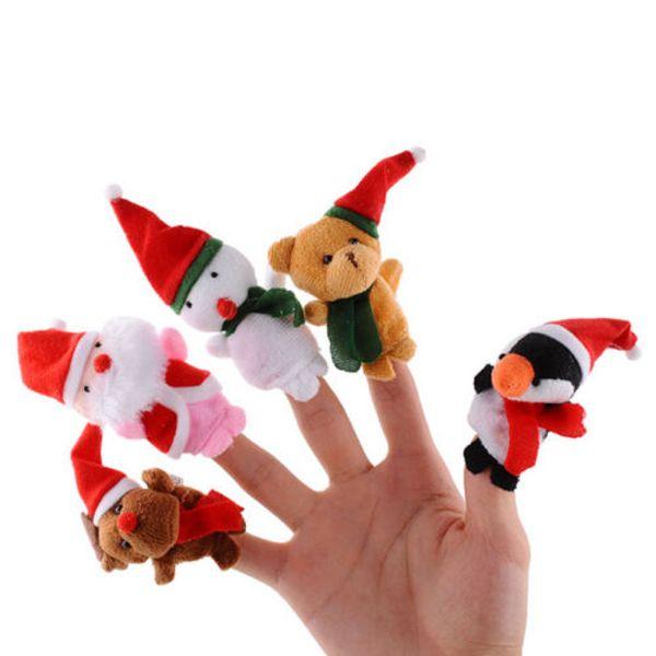 5pc Christmas Plush Doll Finger Puppets Baby Girls Educational Finger Toys Cartoon Animal Toy