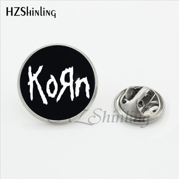 2017 Newest Korn Collar Pin Brooch Handmade Round Heavy Metal Rock Band Glass Dome Fashion Jewelry Stainless Steel Lapel Pins