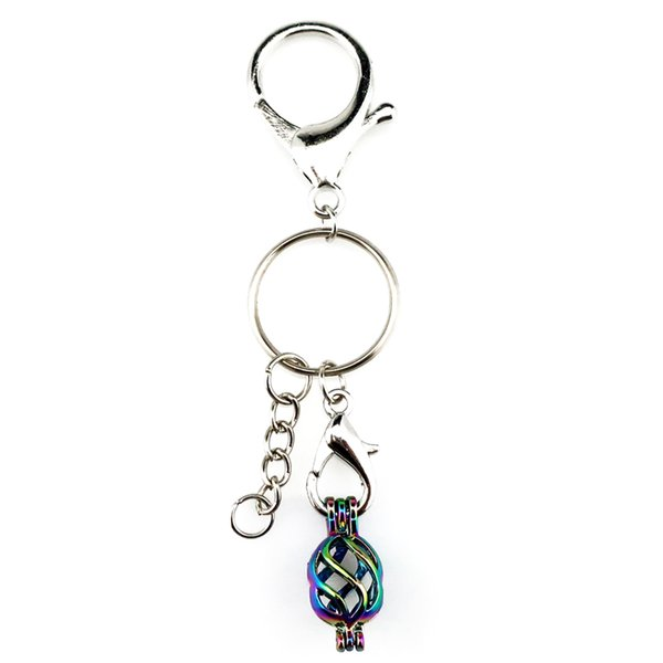 Key Chains Keychain Silver Plated Key Ring Clasp with Warping Beads Cage Locket Y133 Fun Gift