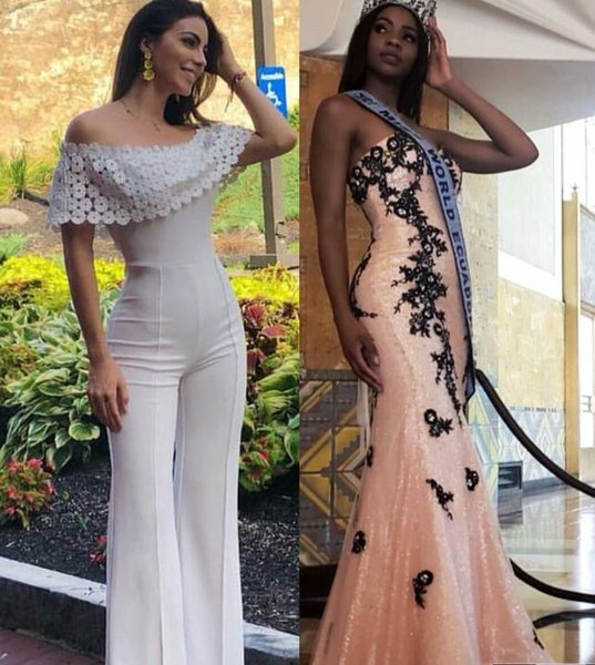 Evening Dress Jumpsuit Sleeveless Lace Spangex White Off-Shoulder Modern Classic popular All sizes can be customized