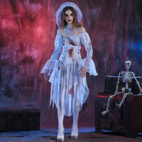 Neue Mode Halloween Weiße Geisterbraut Frauen Cosplay Für Halloween Party Kostüm Erwachsene Geisterbraut Uniform W880321