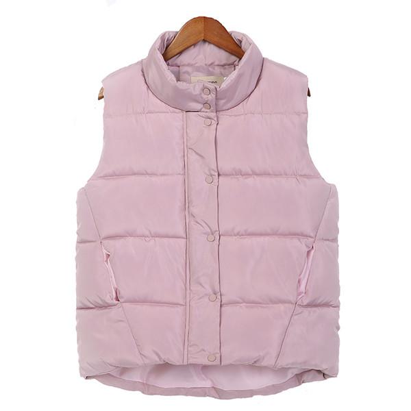 DOSOMA 2017 Autumn Winter Down Cotton Vest Women Pink Warm Slim Short Waistcoat Plus Size 3XL Female Sleeveless Vest Outwear