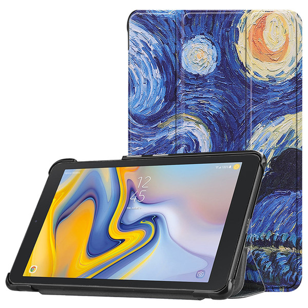 Slim Magnetic Painted PU Leather Foldable Case Cover for Samsung Galaxy TAB A 8.0 T387V T387 2018 Tablet Stand Flip Cover+Stylus