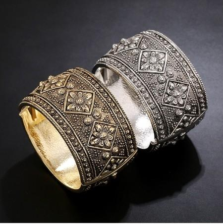 Engraved Pattern Cuff Bracelets Womens Bangle Gold Silver Tone High End Jewelry Gifts For Girls Bangle Cuffs