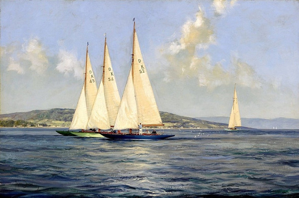 Yachts on the River Clyde Scotland by Montague Dawson Handpainted &HD Print Seascape Art Oil painting Wall Art on canvas Multi Sizes l47