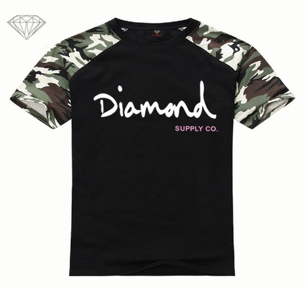 New Summer Cotton Mens T Shirts Fashion Short-sleeve Printed Diamond Supply Co Male Tops Tees Skate Brand Hip Hop Sport Clothes LX18