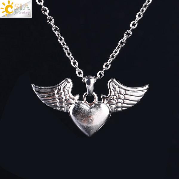 CSJA Women Silver Pendant Necklaces Princess Tiara Love Heart Key Guitar Angel Wings Party Wedding Bride Jewelry Girls Fashion Gift S115 B