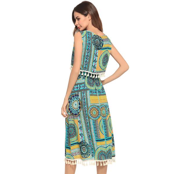 2018 New Pattern Summer Dress False Twinset Tassels Nation Manner False Dress