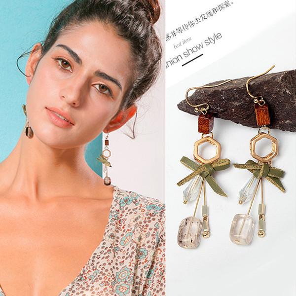 Bowknot Crystal Geometry Stud Earring Stud Ear Stud Natural Stone Jewelry Ear Clip Earrings Women \'S Jewelry
