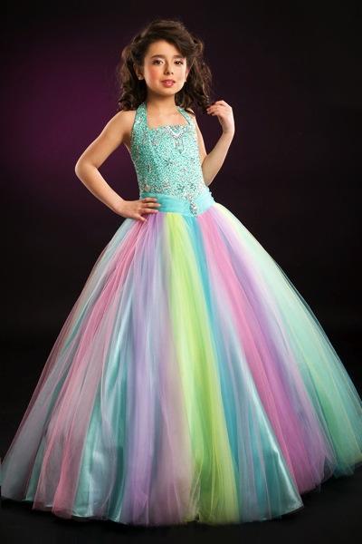 Lovely Rainbow Halter Tulle Beads Flower Girl Dresses Girls' Pageant Dresses Birthday/Holidays Dresses Custom Size 2-14 FD708188