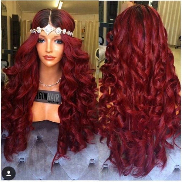 100% unprocessed glueless remy virgin human hair pure red colorful long body wave full lace silk top wig for women