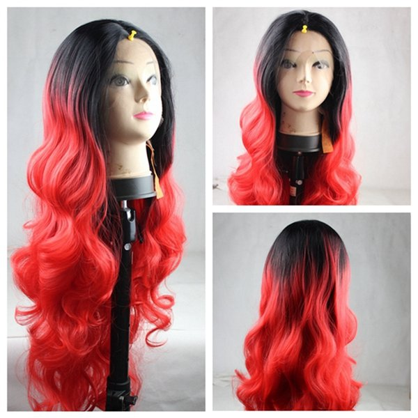 New Cheap Fashion Heat Resistant Wigs Body Wave Ombre Black to Red Synthetic Lace Front Wigs for Black Women Red Cosplay Hair wigs