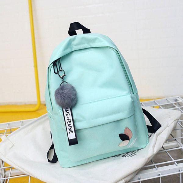 New 2018 Solid Backpack Girl School Bags for Teenage College Women SchoolBag High Student Bag Red Black Nylon Printing Bookbag