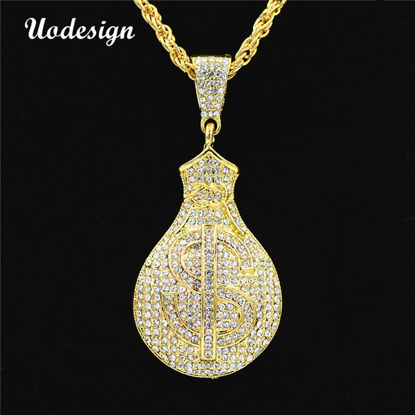 Uodesign US Dollar $ Sign Necklaces Golden Money Purse Wallet Chains Bling Rhinestone Hiphop Necklace Jewelry Gift for men
