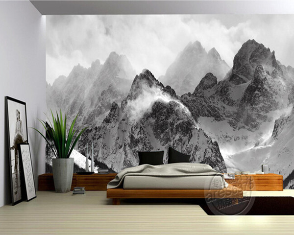the latest 3d wallpaper black and white mountains and clouds de parede papel the sofa wall bedroom wall paper desktop high resolution wallpaper