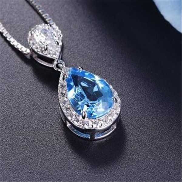 S925 Sterling Silver Pendant Water Drop Topaz Blue & Ruby Pendants Bride Wedding Engagement Party Fine Jewelry Necklace No ChainY1883008