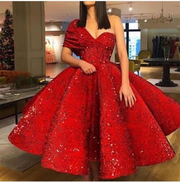 Bir Omuz Balo Lüks Köpüklü Kırmızı Güzel Özel Günlerinde Elbiseler Akşam elbise Seksi Yeni Coming