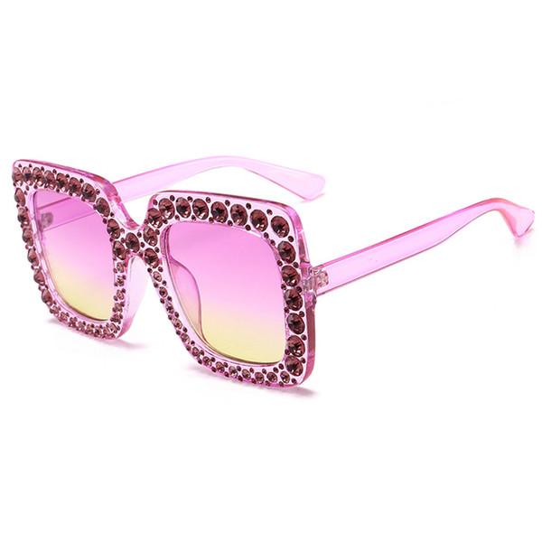 Compre Señoras Diamond Crystal Pink Gafas De Sol Para Mujeres Marco ...
