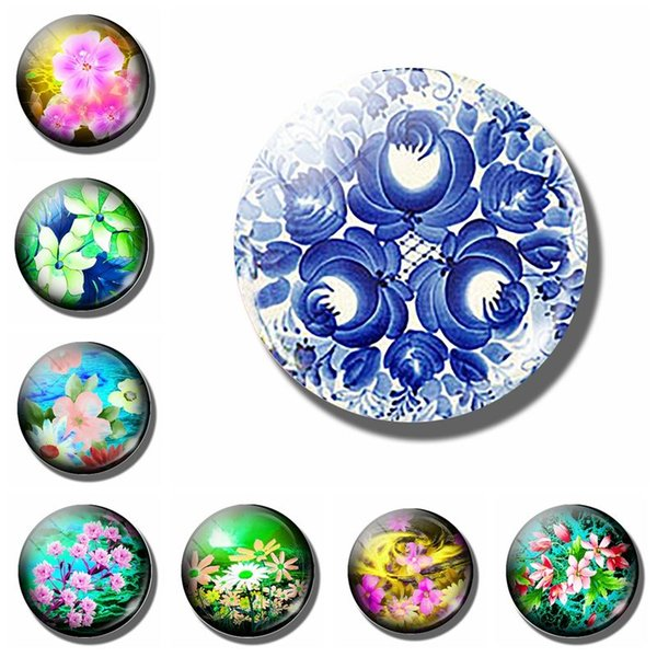 10pcs/lot Gzhel 30 MM Fridge Magnet Traditional Blue Russian Ethnic Art Glass Dome Magnetic Refrigerator Stickers Note Holder Home Decor