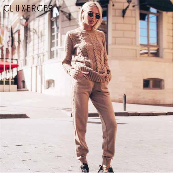 New Autumn Tracksuit Women Two Piece Set Sweater Top+Pants Knitted Suit O Neck 2 Pieces Set Tracksuit Suits